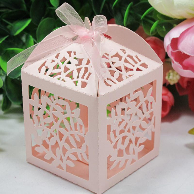Buy Wedding Gift Box : ... Laser Cut Favor Candy Gift Boxes With Ribbon For Wedding Party 60pcs