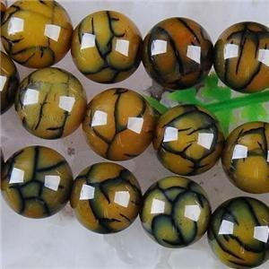 6mm, 8mm, 10mm, 12mm Yellow Dragon Veins Agate Round Loose Bead 15inch Gemstone