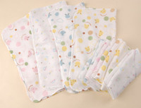 Wholesale baby muslin cloths Baby cotton double gauze cartoons handkerchief towel Bath
