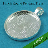 Wholesale 1 Inch m Sterling Silver Plated Blank Pendant Trays Blank Bezel Pendant Settings