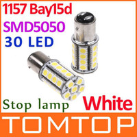 Wholesale 2Pcs set Bay15d White SMD LED Car Brake Light Stop Lamp Bulb car tail lights bulbs K462