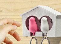 Wholesale Sparrow Keyring Couple - Lovers Sparrow Key Ring, Duo Sparrow Keychain, Couple Pair Birdhouse Whistle Key Holder, Brid Nest Wall Hook Keyring Hanger Rack