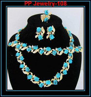 Wholesale Fashion K Gold Tone Turquoise And Crystal Bridemaid Costume Jewelry Set