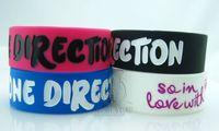 Wholesale 150pcs ONE DIRECTION Fans Wristband Music Band Fashion Silicone Bracelet Men Women Ladies Bracelets