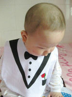 Wholesale BABY FEEDING BIBS EATING TOP KIDS BLACK WHITE TUXEDO SUPERMAN HOT nbjugil