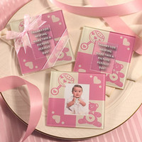Wholesale wedding favor Baby shower Pink Photo Glass Coaster
