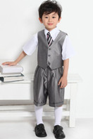 Wholesale Silver gray vest formal dress tuxedo Boys Attire men s Groom Tuxedo wedding suits wedding dress