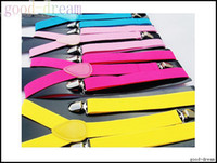 Wholesale Candy Colors Y back Suspenders Clip on Adjustable Pants Y back Suspender Braces Elastic