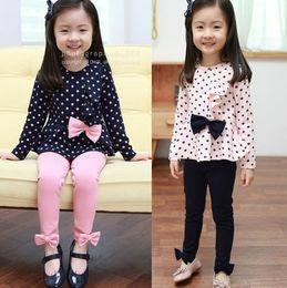 children's Suits 2012 Autumn Girl's bowknot Suits girl dot long-sleeved T-SHIRT + Leggings girls set