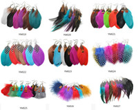Wholesale Dangle Feather Earrings mixed Colors pairs