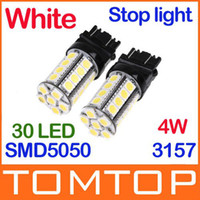Wholesale White W LM SMD LED Car Brake Stop Lamp Light Car Wedge tail lights Bulb K467
