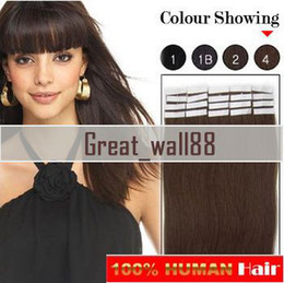Wholesale 20pieces set Glue Skin Weft Hair Extension Indian Human Hair Light Brown inch DHL Free SW001
