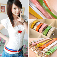 Wholesale women summer sexy fashion lovely beauty thin waistband girdle candy color bright patent leather belt