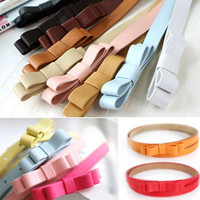 Wholesale princess double bowknot belts candy color women thin leather waistband fashion lovely small girdle