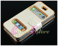 Wholesale 20pcs Deluxe Book Leather Diamond Chrome Hard Case Cover F iPhone S G