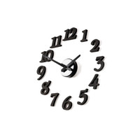 Wholesale DIY Stereo digital clock wall clock Design Wall clock decor Room black pieces a