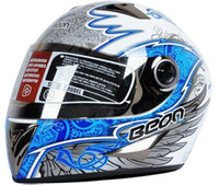 Wholesale Full face helmet BEON white blue wings design motorcycle helmet flip up helmet