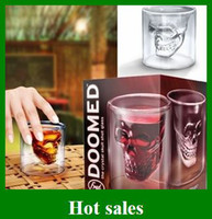 Wholesale Hot Cup Doomed Crystal Skull Head Vodka Shot Glass Pirate Glasses Beer Mug oz Gif