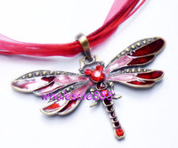 Wholesale Dragonfly Alloy Necklaces Lobster clasp cm Length Animal Necklaces Mix Color