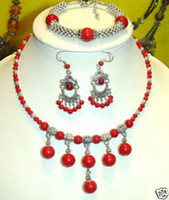 Wholesale Tibet silver amp Red coral necklace bracelet earring set