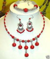 Bracelet,Earrings & Necklace coral coral necklace - Tibet silver amp Red coral necklace bracelet earring set
