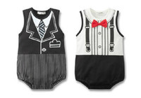 Wholesale Doomagic baby romper Summer Gentleman Tie printing vest romper baby red Bow tie Triangle romper
