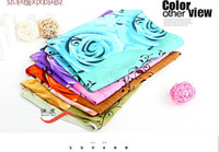 Wholesale European new design colorful rose printing chiffon silk scarf