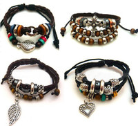 Wholesale retro leather bracelet cross wooden bead bracelet love bracelet charm fashion jewelry