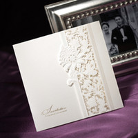 Wholesale Ivory Lace Cut Out Tri fold Wedding Invitation Cards Invitations Party Favor Gifts Set of