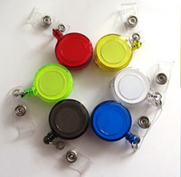 Wholesale ID holder name tag card key Badge Reels Round Solid Translucent Plastic Clip On Retractable Reel