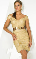 Wholesale Gold Off the shoulder Mini Short Dresses with Short Sleeves amp Metallic Belt In8198