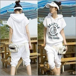Wholesale 2012 Women Casual Tracksuits piece White Short sleeved Hooded Cotton Girl Sports Suits FSD1 YD04