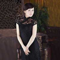Wholesale Retro style black lace dress red two piece dress skirt collection body charm
