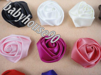 Wholesale 120pcs Trial order quot Mini Satin Roses Flowers Heads Rosette Flowers For Hair Ribbon Rose