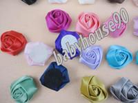 Wholesale 60pcs Trial order quot Mini Satin Roses Flowers Heads Rosette Flowers For Hair Ribbon Rose