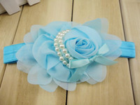 Wholesale Trial order Chiffon Rose Flower With Pearls Headbands Baby Girl Photography Prop