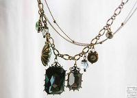 Bohemian man made diamond - Fashion Jewelry Vintage Baroco style Necklace Man made diamond necklace Sapphire necklace G811
