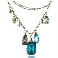 Bohemian man made diamond - Fashion Jewelry Vintage Baroco style Necklace Man made diamond necklace Sapphire necklace AAA