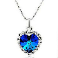 Wholesale 2012 Hot Sale Silver The Titanic Ocean Heart Necklace Luxurious Diamond Jewelry Best Gift in Retail