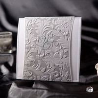 Wholesale Silver Embossed Folded Wedding Invitation Cards Invitation Party Favor Gifts