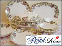 Wholesale bone china dinnerware set England Rose orginal from tangshan red rose