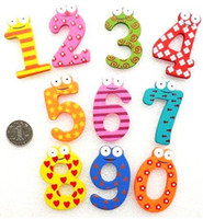 Wholesale Figures number Wooden Colorful Cartoon Fridge Magnets Refrigerator sticker best gift