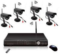 al por mayor cctv del canal inalámbrico-Digtal Independiente Wireless DVR 4 inalámbrico con 3 canales por cable cctv cámara de visión Nocturna