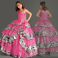 Girl pink zebra - Best selling Fuchsia Organza Zebra Stripes Printed Beaded Ball Gown Girls Formal Occasion Flower Girl Dresses Girls Pageant Dresses F192