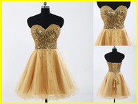 Wholesale Real Sample Custom Strapless Tulle Sequin Sexy Prom Dresses Mini A line Gold Evening Prom Gowns