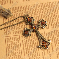 Wholesale Hot Retro Style Personality Cross with champagne Crystal Pendant Necklace