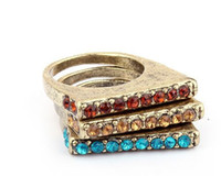 South American auger types - Fashion vintage bag case type set auger ring jewelry set finger rings with diamond LY5
