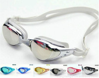 Wholesale Mirror coated colors swimming goggles swim glasses Waterproof Anti fog UV Ski goggles