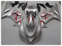 al por mayor plata zx6r-OEM carenado de color para KAWASAKI ZX6R 05 06 2005 2006 SILVER FLAME carenados piezas kit ZX 6R ZX636 ZX-6R