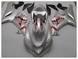 OEM color fairing for KAWASAKI ZX6R 05 06 2005 2006 SILVER FLAME fairings parts kit ZX 6R ZX636 ZX-6R